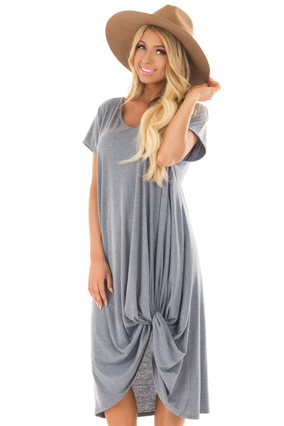 Steel Blue Comfy Short Sleeve Dress with Front Knot Detail front close up