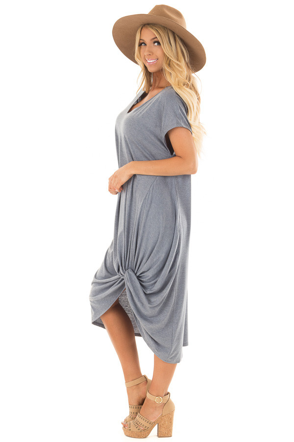 Steel Blue Comfy Short Sleeve Dress with Front Knot Detail side full body