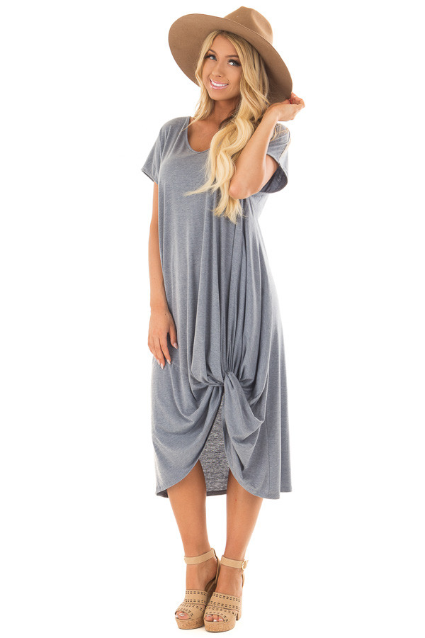 Steel Blue Comfy Short Sleeve Dress with Front Knot Detail front full body