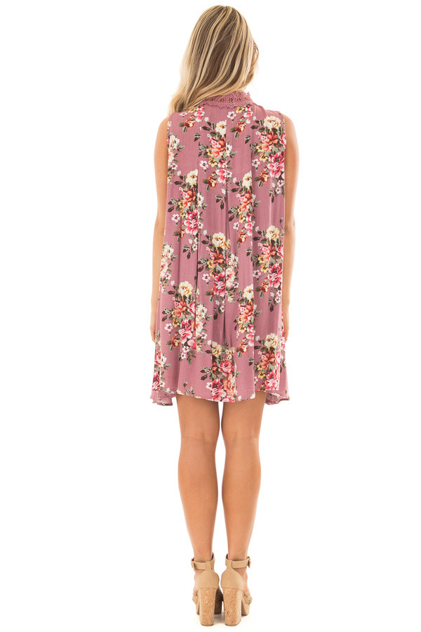 Dusty Rose Floral Print Shift Dress with Lace Neckline back full body