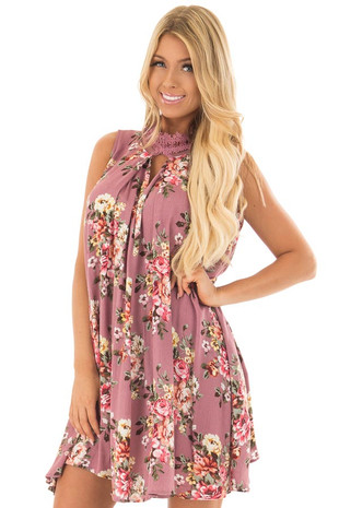 Dusty Rose Floral Print Shift Dress with Lace Neckline front close up