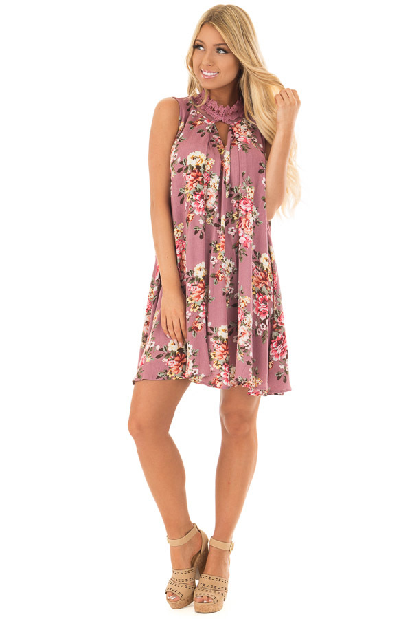 Dusty Rose Floral Print Shift Dress with Lace Neckline front full body