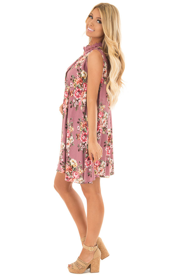 Dusty Rose Floral Print Shift Dress with Lace Neckline side full body