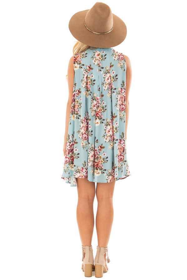 Sky Blue Floral Print Shift Dress with Lace Neckline back full body