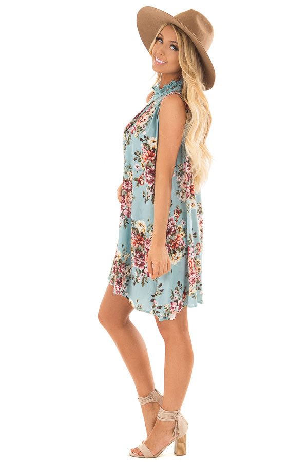 Sky Blue Floral Print Shift Dress with Lace Neckline side full body