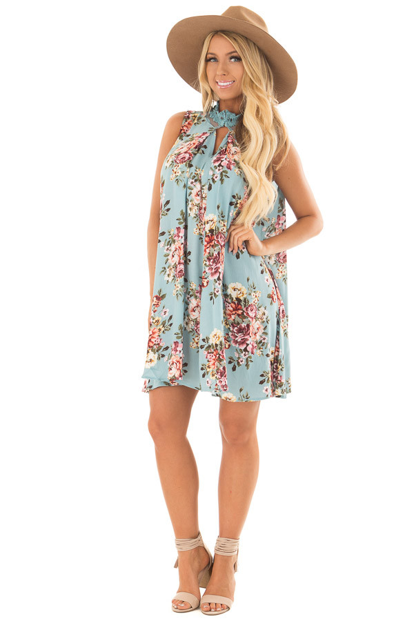 Sky Blue Floral Print Shift Dress with Lace Neckline front full body