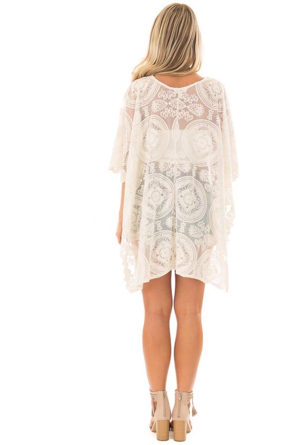Ivory Sheer Lace Tunic with Lace Up Neckline back full body