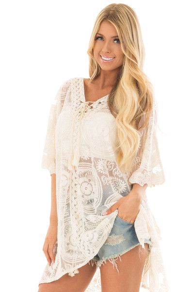 Ivory Sheer Lace Tunic with Lace Up Neckline front close up