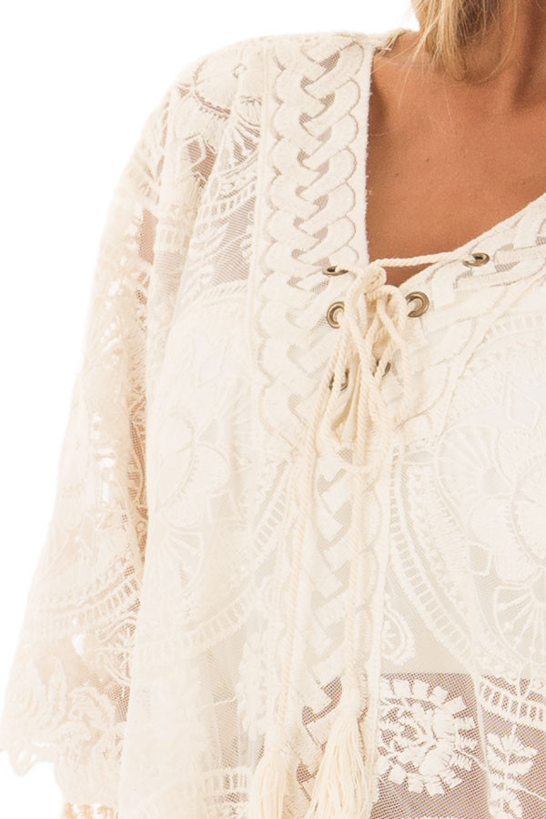 Ivory Sheer Lace Tunic with Lace Up Neckline detail