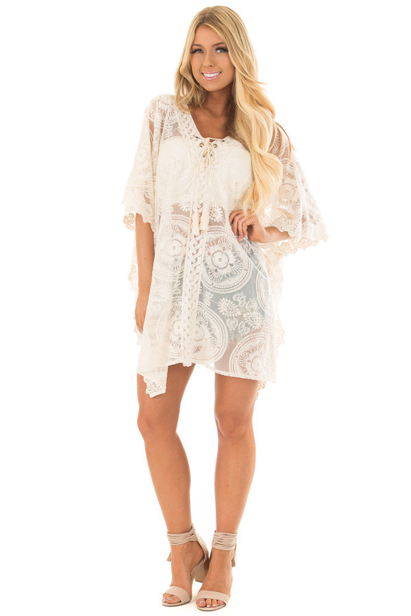 Ivory Sheer Lace Tunic with Lace Up Neckline front full body