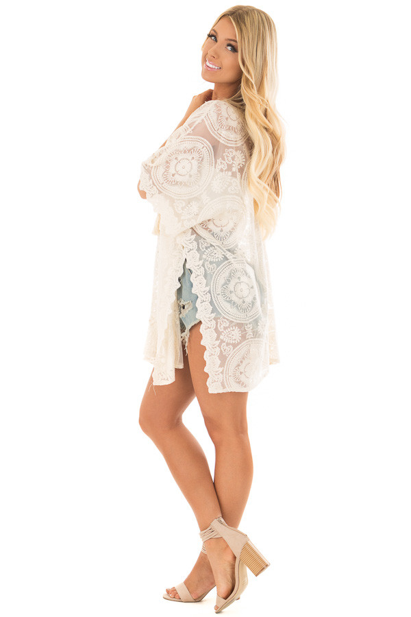 Ivory Sheer Lace Tunic with Lace Up Neckline side full body