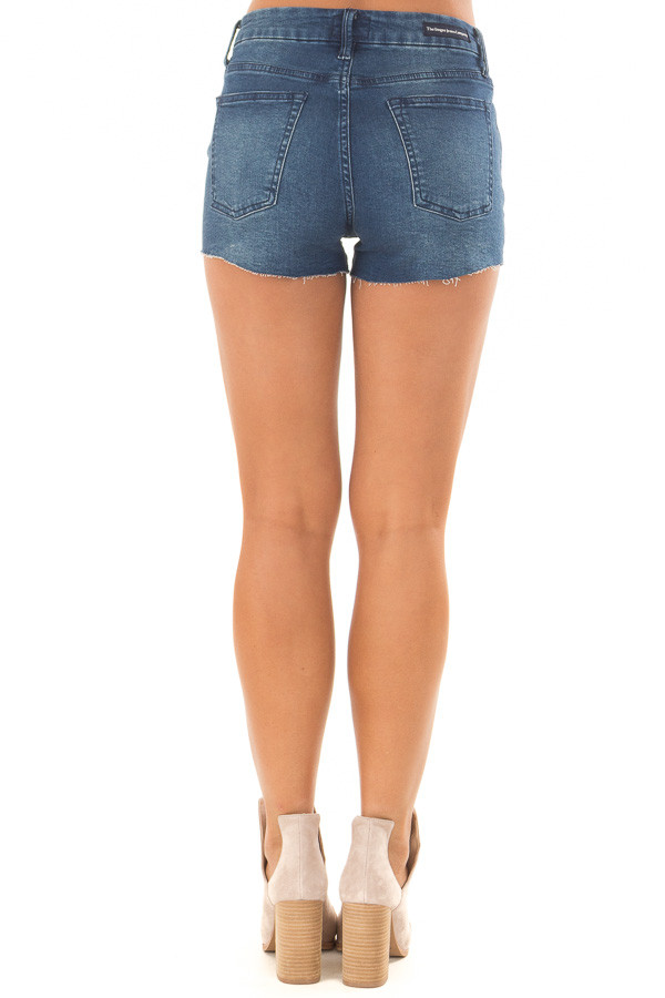 Medium Wash Cut Off Button Up Shorts back view