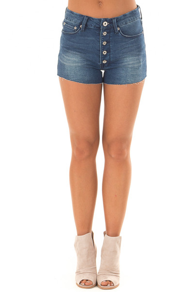 Medium Wash Cut Off Button Up Shorts front view