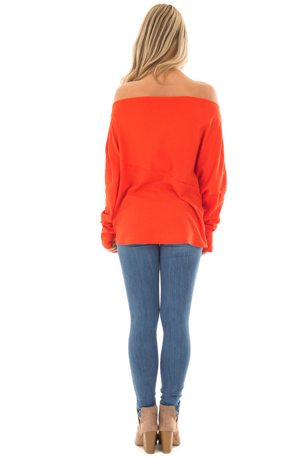 Tomato Red Thermal Off the Shoulder Top with Tie Detail back full body