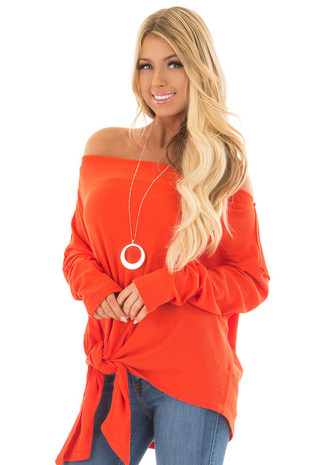 Tomato Red Thermal Off the Shoulder Top with Tie Detail front close up