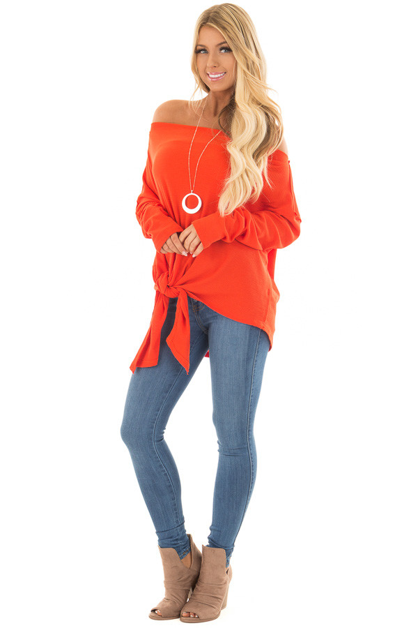 Tomato Red Thermal Off the Shoulder Top with Tie Detail front full body