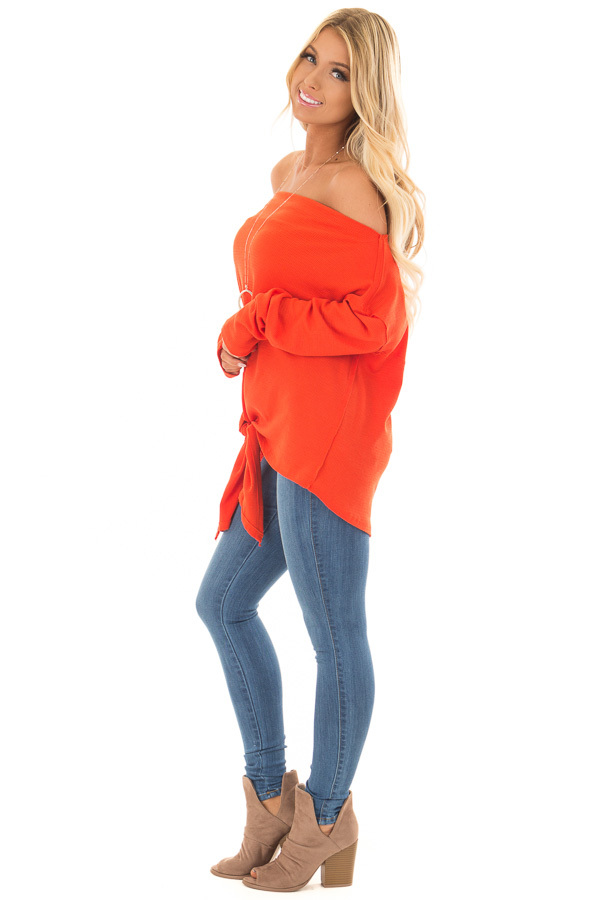 Tomato Red Thermal Off the Shoulder Top with Tie Detail side full body