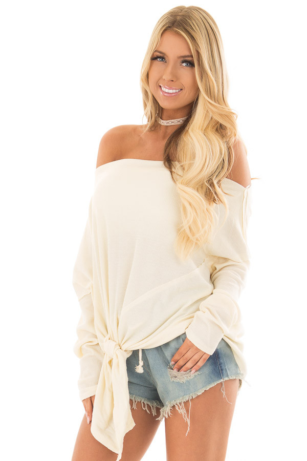 Cream Thermal Off the Shoulder top with Tie Detail front close up