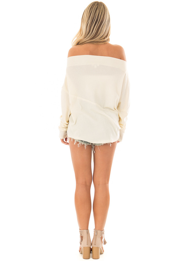 Cream Thermal Off the Shoulder top with Tie Detail back full body