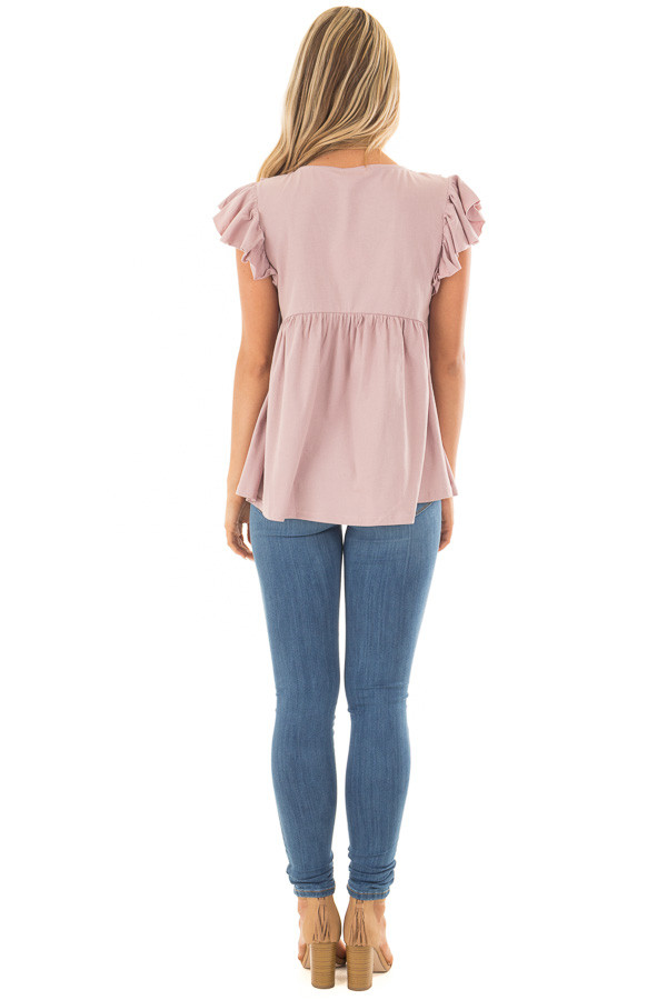 Dusty Mauve Babydoll Top with Ruffle Detail back full body