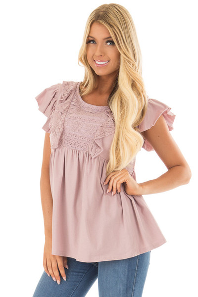 Dusty Mauve Babydoll Top with Ruffle Detail front close up