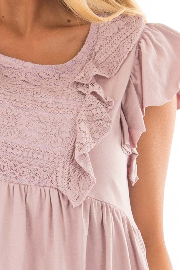 Dusty Mauve Babydoll Top with Ruffle Detail detail