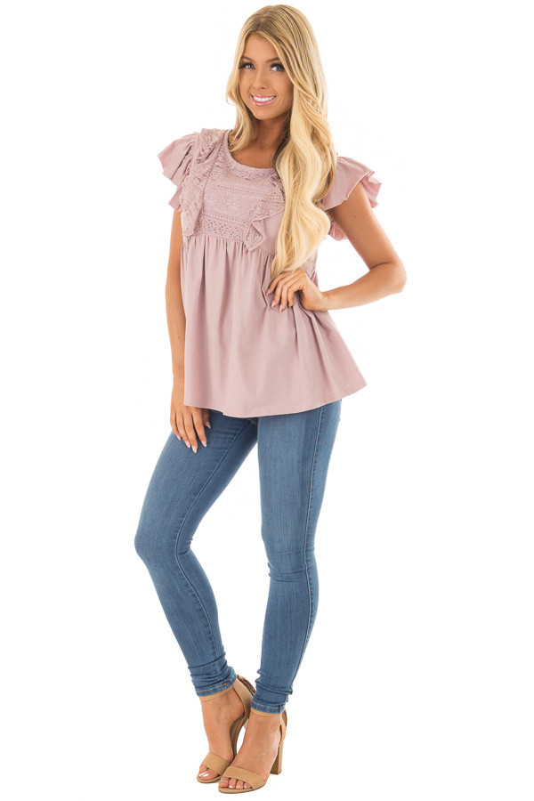Dusty Mauve Babydoll Top with Ruffle Detail front full body