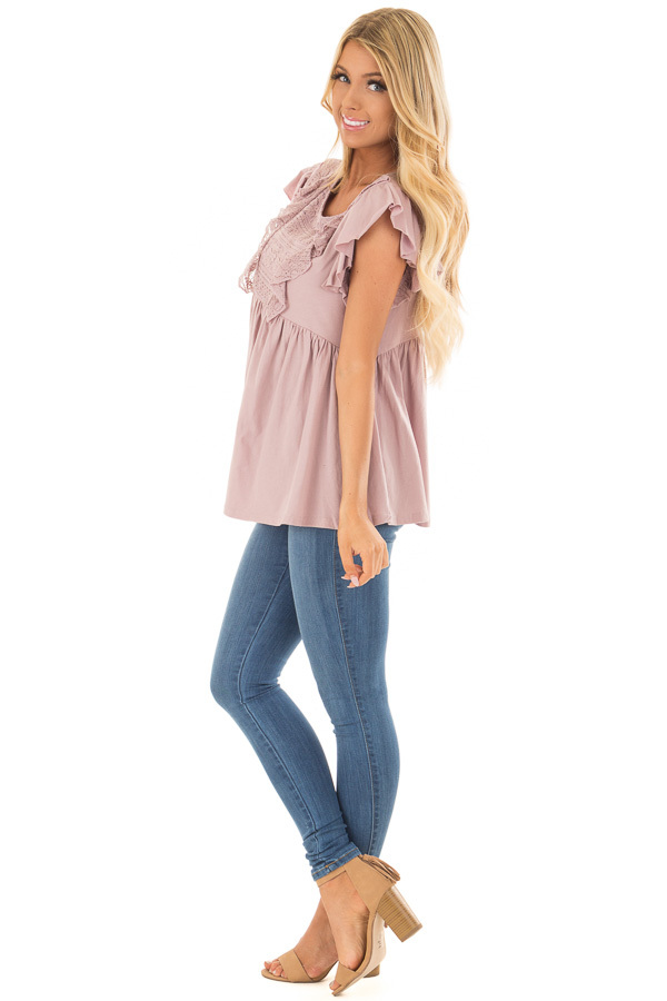 Dusty Mauve Babydoll Top with Ruffle Detail side full body