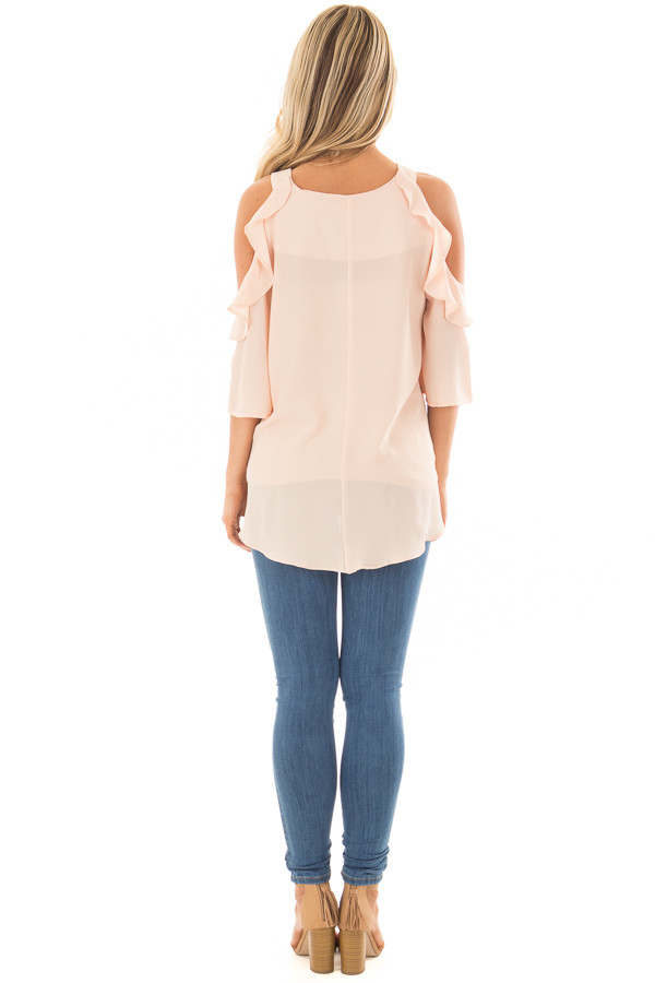 Melon Cold Shoulder Top with Ruffle Detail back full body