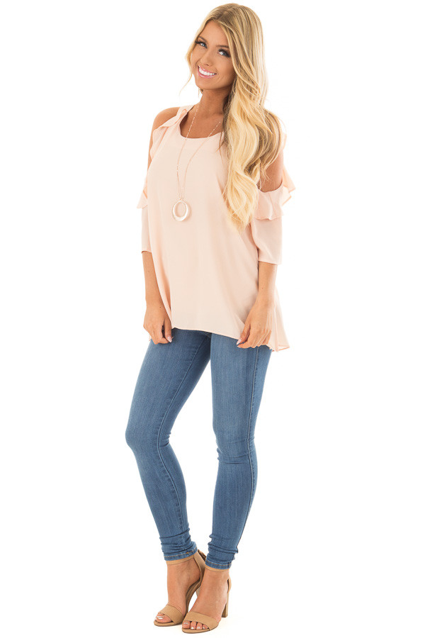 Melon Cold Shoulder Top with Ruffle Detail front full body