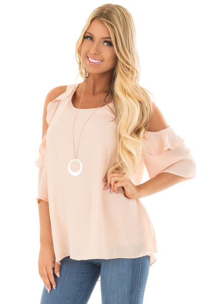 Melon Cold Shoulder Top with Ruffle Detail front close up