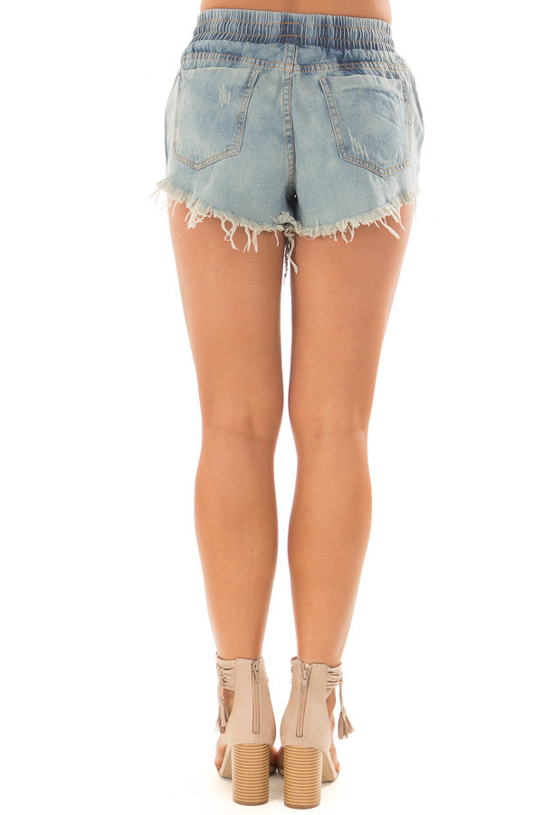 Light Wash Distressed Denim Shorts with Drawstring back view