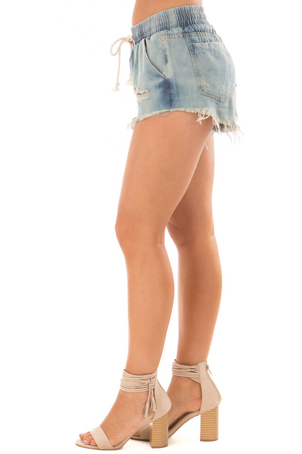 Light Wash Distressed Denim Shorts with Drawstring side view