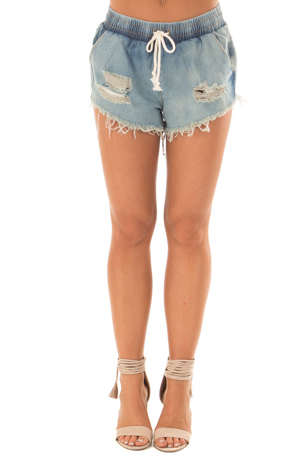 Light Wash Distressed Denim Shorts with Drawstring front view