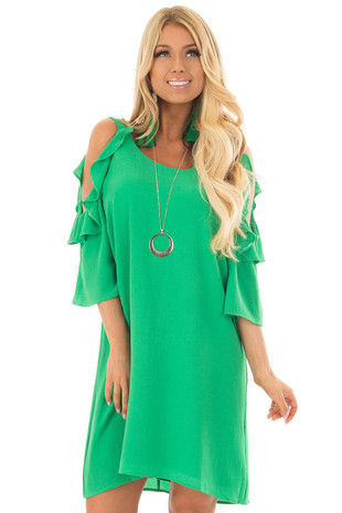 Kelly Green Cold Shoulder Dress with Ruffle Detail front close up