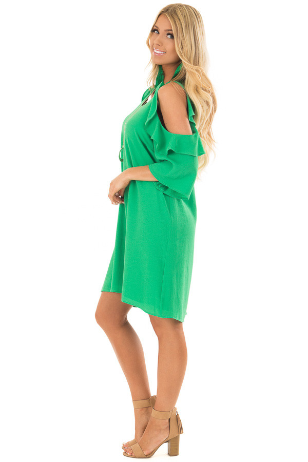 Kelly Green Cold Shoulder Dress with Ruffle Detail side full body