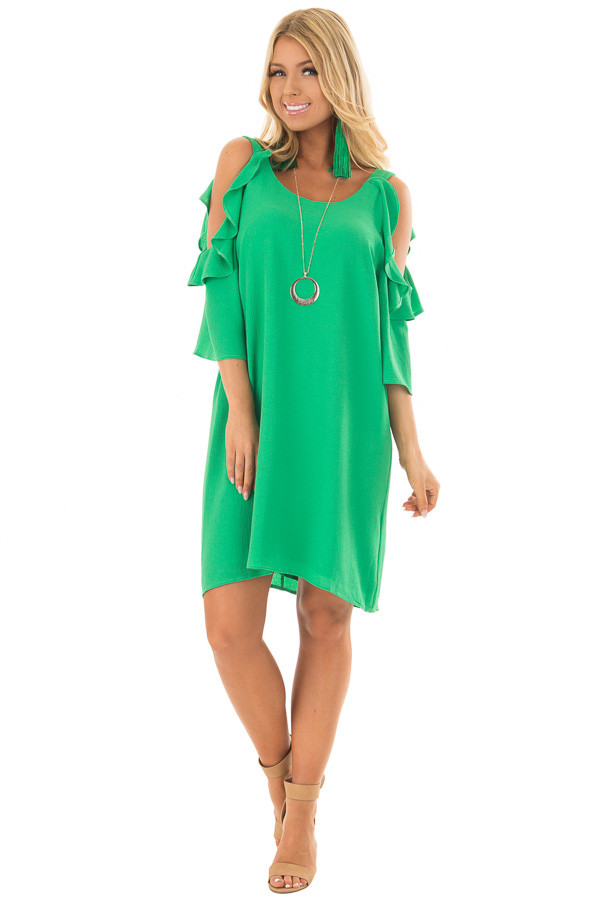 Kelly Green Cold Shoulder Dress with Ruffle Detail front full body