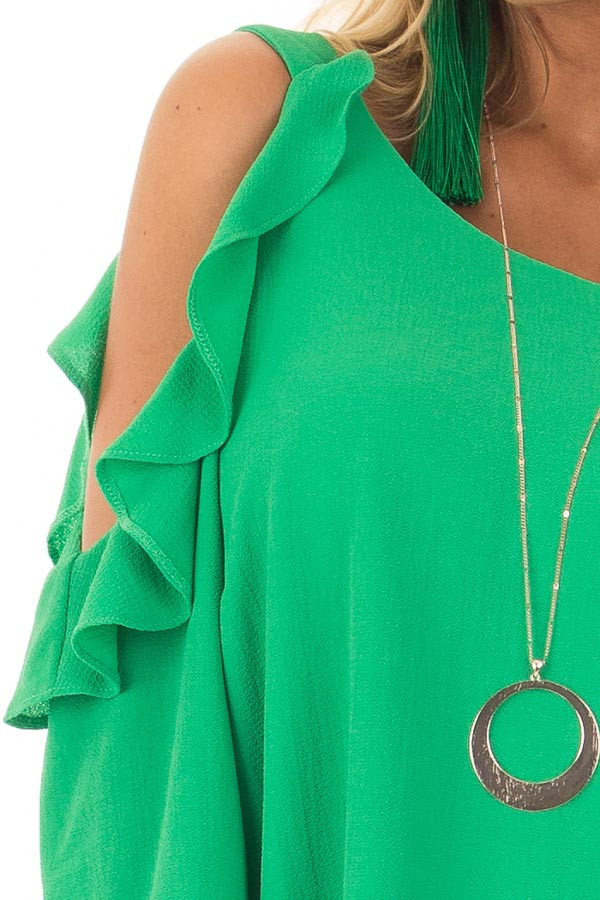 Kelly Green Cold Shoulder Dress with Ruffle Detail detail