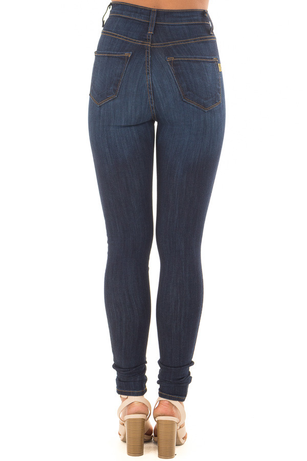 Dark Wash High Waisted Button Up Skinny Jeans back view