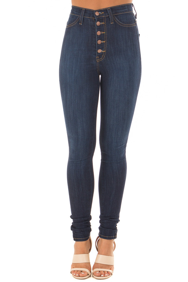 Dark Wash High Waisted Button Up Skinny Jeans front view