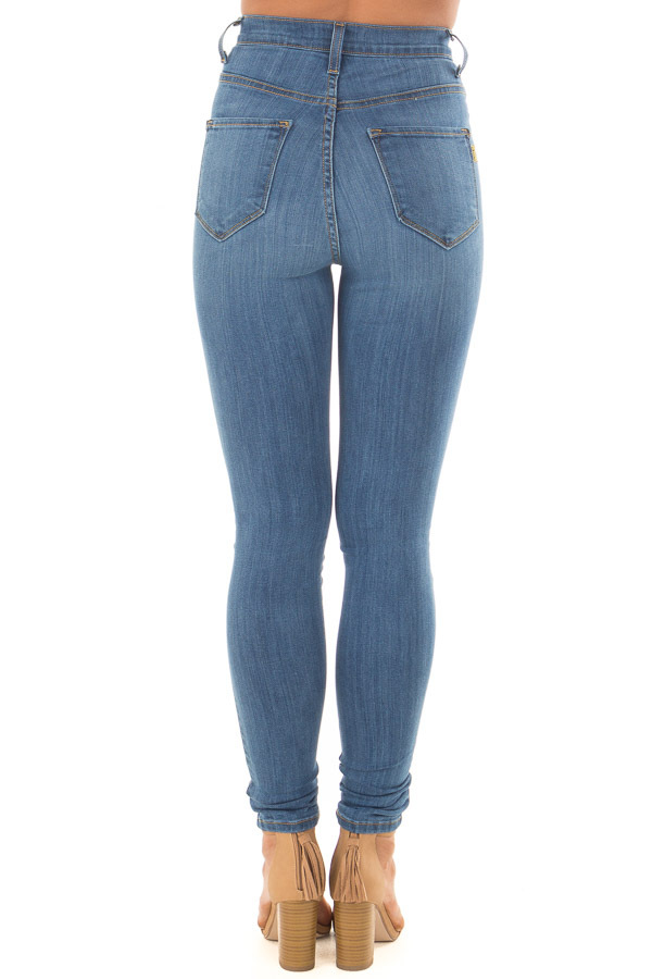 Medium Wash High Waisted Button Up Skinny Jeans back view