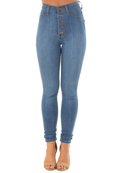 Medium Wash High Waisted Button Up Skinny Jeans front view
