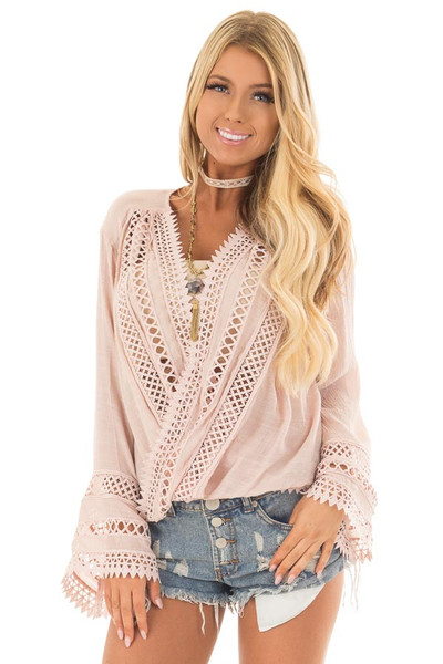 Dusty Blush Long Sleeve Surplice Top with Crochet Detail front closeup