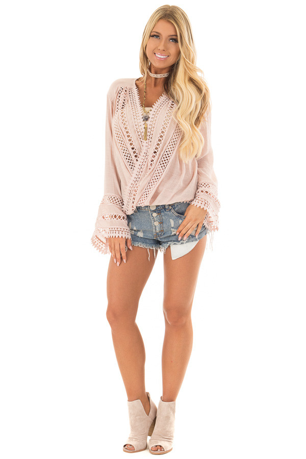 Dusty Blush Long Sleeve Surplice Top with Crochet Detail front full body