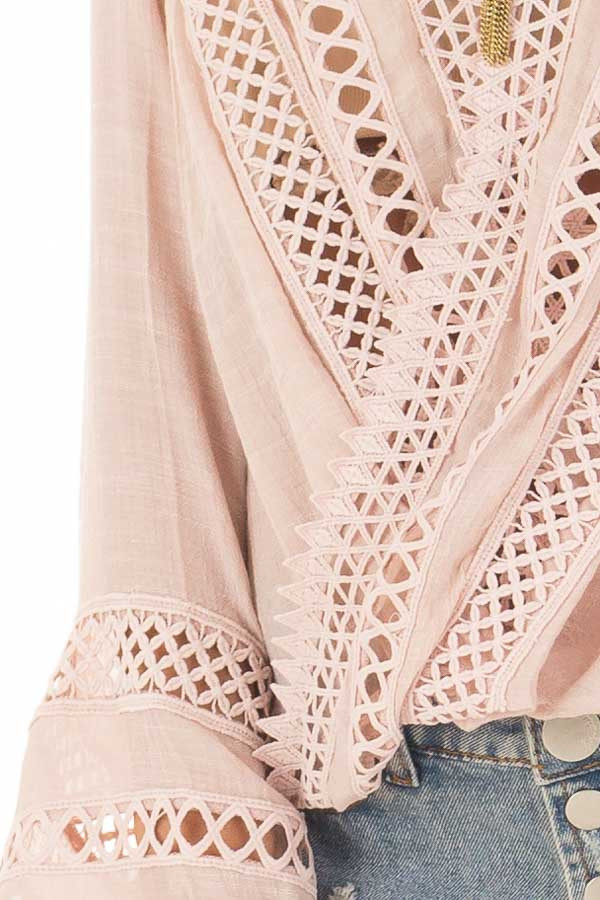 Dusty Blush Long Sleeve Surplice Top with Crochet Detail front detail