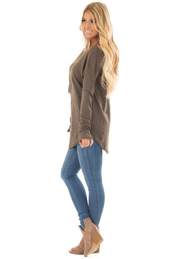 Olive Long Sleeve Top with X Stitched Detail side full body