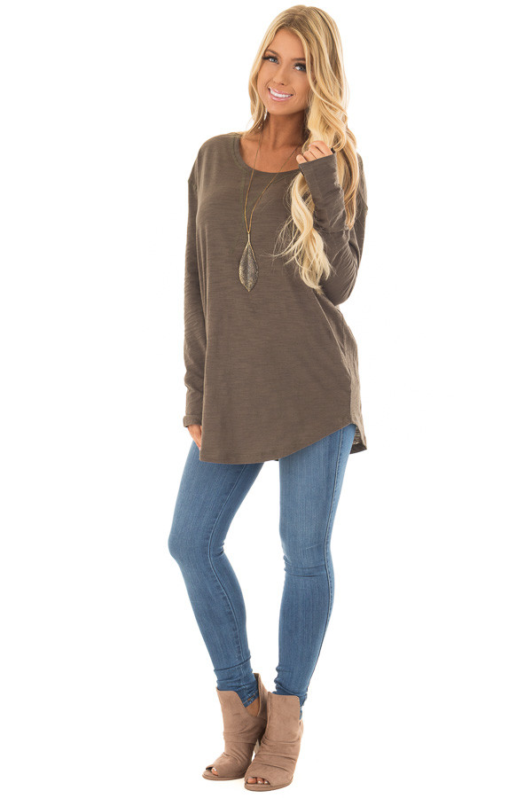 Olive Long Sleeve Top with X Stitched Detail front full body
