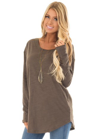 Olive Long Sleeve Top with X Stitched Detail front closeup