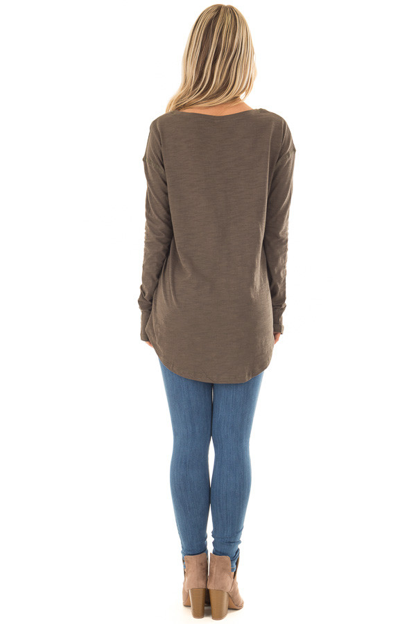 Olive Long Sleeve Top with X Stitched Detail back full body