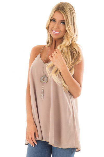 Taupe Flowy V Neck Tank Top front closeup